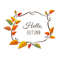 Template Design poster Hello Autumn. Autumnal round frame. Fall leaf wreath. Colorful leaves background border. Design idea for decorative festival banner elements. Vector illustration