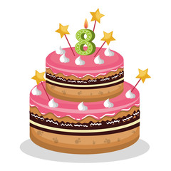 happy birthday cake with candle number vector illustration design