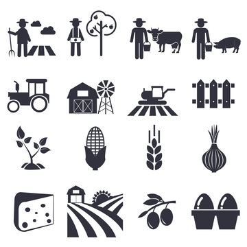 Agriculture icons, farming set vector illustration