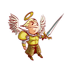 Colorful vector illustration of a cartoon archangel with a golden armor and a crystal sword