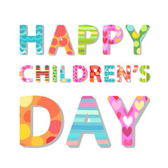 Cute Children's Day banner with phrase Happy Children's Day as colorful letters with hand drawn childish prints
