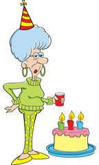 Cartoon illustration of an elderly women with a birthday cake.