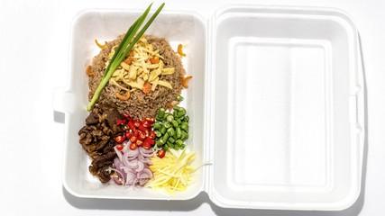 Obraz Ka Pi fried rice on a take away box. - fototapety do salonu
