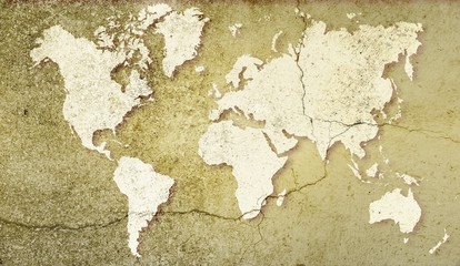 World map on sepia cracked background. Basic image for map courtesy NASA.
