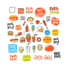 Fast food icon set hot dog, hamburger, pizza slice, ice cream. Fast food menu. Lettering. Hand-drawn illustration. Sketch. Isolated objects on white background. Vector illustration.