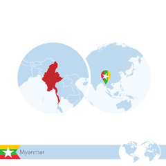 Myanmar on world globe with flag and regional map of Myanmar.