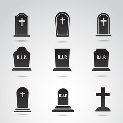 Grave vector icon set.