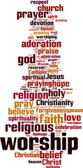 Worship word cloud concept. Vector illustration