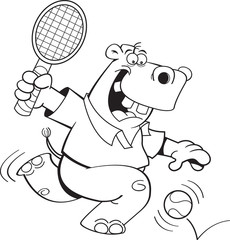 Black and white illustration of a hippo playing tennis.