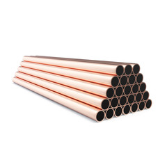 Copper pipes isolated on white background. 3d rendering