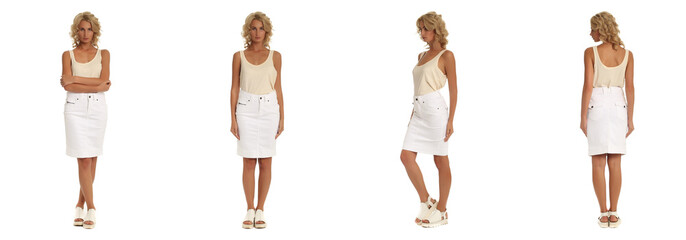 Fashion model dressed in white skirt isolated on white