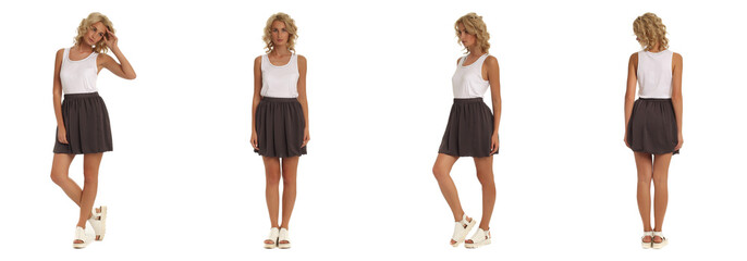 Fashion model dressed in brown skirt isolated on white