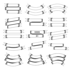 Vintage ribbon set. Vector Illustration