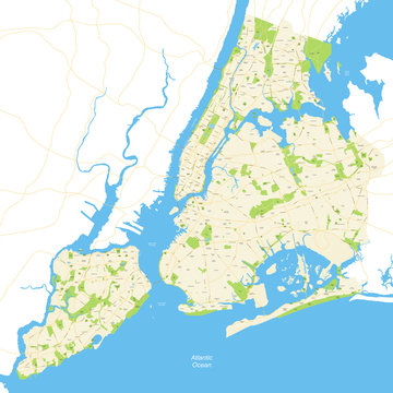 New York City Map Full - vector illustration