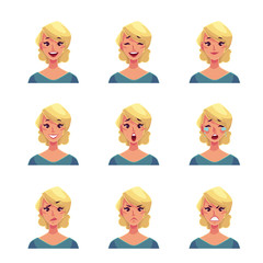 Girl face expression, set of cartoon vector illustrations isolated on white background. Blond woman emoji face icons, symbols of human expressions, set of female avatars with different emotions