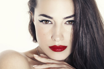 woman beauty portrait with red lips