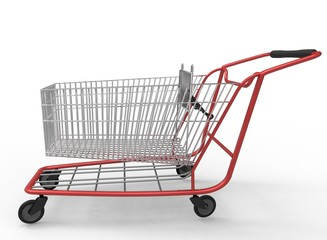 3d illustration of  mall shop cart. white background isolated. icon for game web.