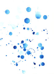 watercolor blue drops on the paper abstract grunge texture backgroud