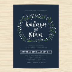 Wedding invitation card with wreath flower template in navy blue color background template. Vector illustration.