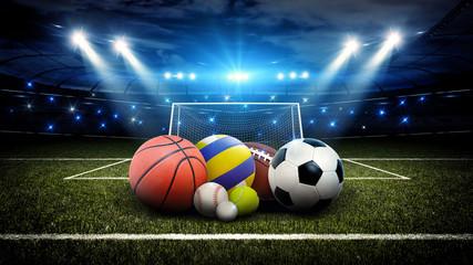 All sports balls in stadium 3d