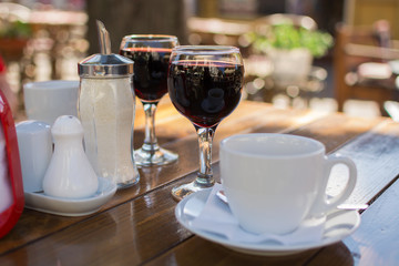 Photo Blinds Coffee beans street cafes, wine glasses and a cup of coffee