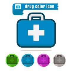 icon medicine Bag colorful design vector on white background