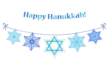 Cute festive bunting Happy Hanukkah with David Stars in traditional colors for your decoration