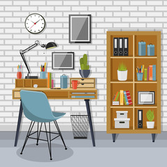 Workplace and shelving unit with gray brick wall
