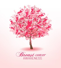 Breast cancer awareness ribbons on a sakura tree. Vector.