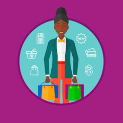 Happy woman with shopping bags vector illustration
