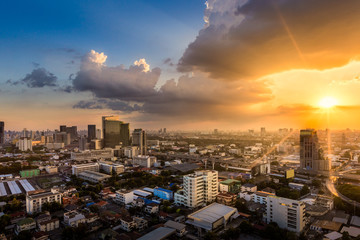 Wall Mural - Bangkok city skyline at sunset