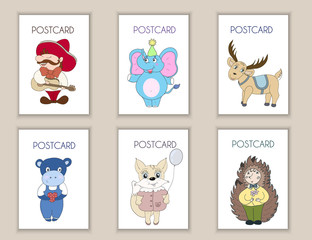 Cute hand drawn postcards birthday, party, baby shower cards, brochures, invitations with mexican, elephant, deer, hippo, squirrel, hedgehog.