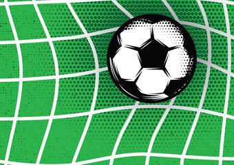 template for design on football theme with green lawn, gate and soccer ball