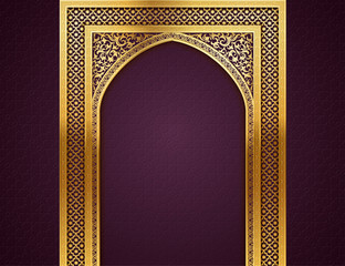 Background with Arch of Arabic Pattern