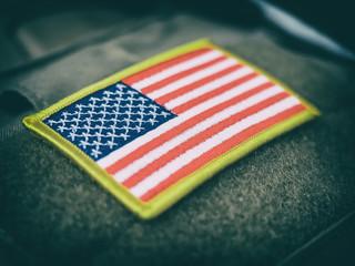 Vintage stylized USA flag patch on velcro