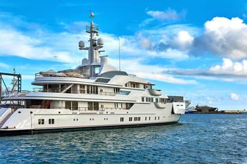 Luxury motor yachts in a Barcelona port. Spain