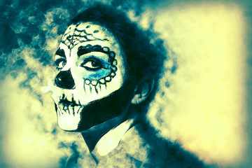 Halloween make up sugar skull Santa Muerte concept. Effect added