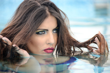 portrait of beautiful woman in the water