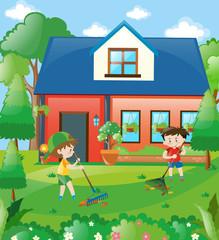 Kids raking leaves at home