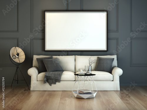 3D illustration of poster frame template, empty poster