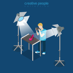 Flat isometric photographer shoot shoe studio vector. 3d.