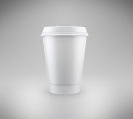 реалистичный картонный изолированный стакан для кофе