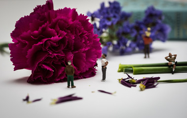 Miniature Figures Enjoying a View of Flowers