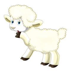 Cartoon funny sheep thinking and watching - isolated - illustration for children