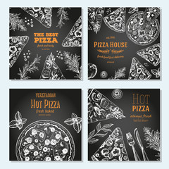 Pizza banner design template. Flyer design collection. Vector illustration drawn with ink. Vertical vintage banner set. Linear drawn vector illustration. Banner set.