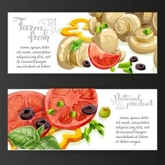 Two horizontal banners with fresh vegetables and marinated champ