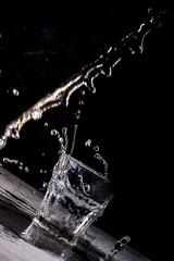 Water splash in glass.