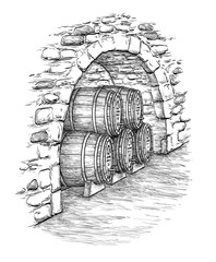 Vector illustration of wine cellar.