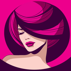 elegant girl with red lips and graphical now beautifully styled hair