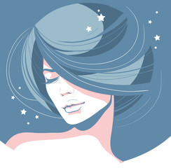 romantic girl with closed eyes fluffy hair on a blue background with scattered stars